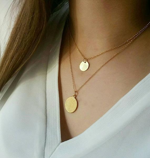 Greek Phaistos Disc Necklace, Ancient Greek Necklace, Gold Layered Necklace, 14k Gold Filled Necklace, Birthday Gift