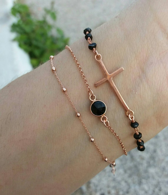 Sideways Cross Bracelet - Rose Gold layered bracelets - Bacheloratte Party Jewelry - Bridmaid gift - Onyx  Bracelets -Dew Drops Chain