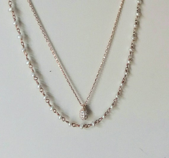 Rose Gold Set, Pearl Rosary Necklace, Cubic Zirconia Drop Necklace, Rose Gold Necklaces