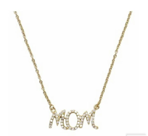 Mom necklace, 14k gold filled mommy necklace, Cubic zirconia, 925 sterling silver, pendant necklace mama, everyday necklace