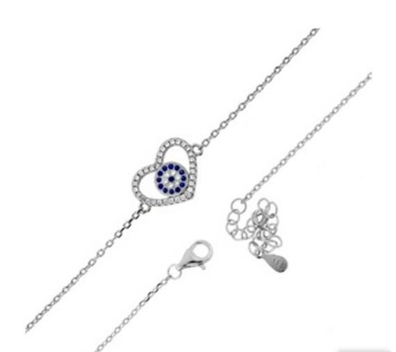 Evil eye bracelet, Silver bracelet, Cubic zircon bracelet, heart evil eye, dainty bracelet, protection charm, blue evil eye silver