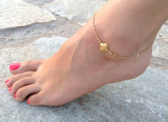 Clover Anklet,Gold Anklet, Shinny Anklet, Beach Anklet, Gold Filled Chain, Foot Jewelry, Jewelry Trends, Bridesmaid Gift