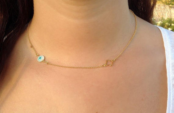 Evil Eye Necklace • Gold Necklace • Four Leaf Clover Necklace • Bridesmaid Gift • Protection Necklace • Gold Clover Necklace