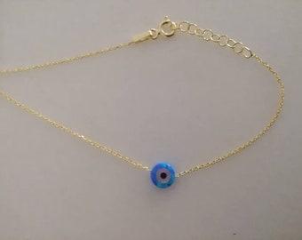 Opal Bracelet, Tiny Evil Eye Bracelet, 14k Gold Filled Evil Eye Bracelet, Protection Charm, Blue Evil Eye Bracelet, Evil Eye Bead Bracelet,