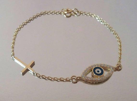 Evil eye bracelet gold, sideways cross bracelet, zircon bracelet, gifts for her, dainty evil eye bracelet, protection charm, blue evil eye