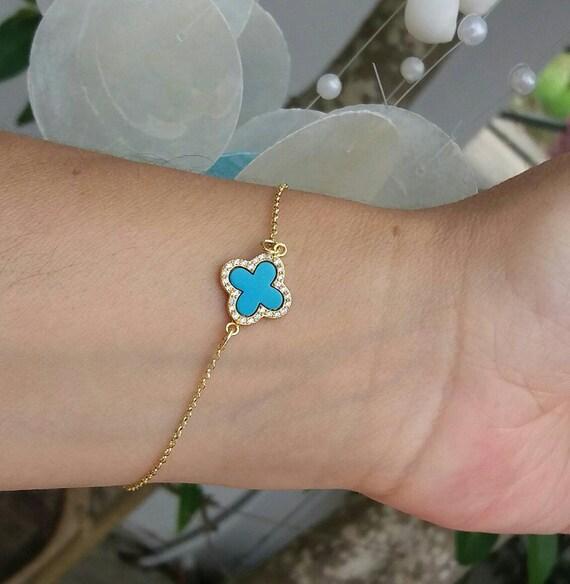 Turquoise Bracelet • 14k Gold Filled Clover Bracelet • Anniversary Gift • Four Leaf Clover Bracelet • Best Friend Gift • Gifts For Her
