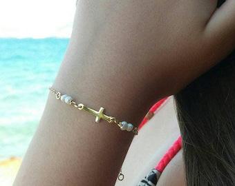 Pearl Cross Bracelet