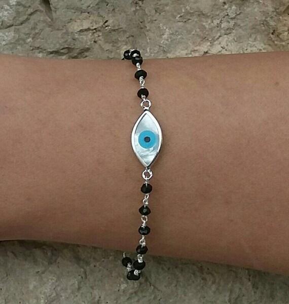 Evil Eye Bracelet - Black Onyx Rosary - Silver Evil Eye - Everyday Jewelry - 925 Sterling Silver - Protection Bracelet - Best Friend Gift