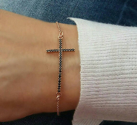 Rose gold bracelet / black zirconia sideways cross / layered bracelet / dainty everyday bracelet / cross bracelet