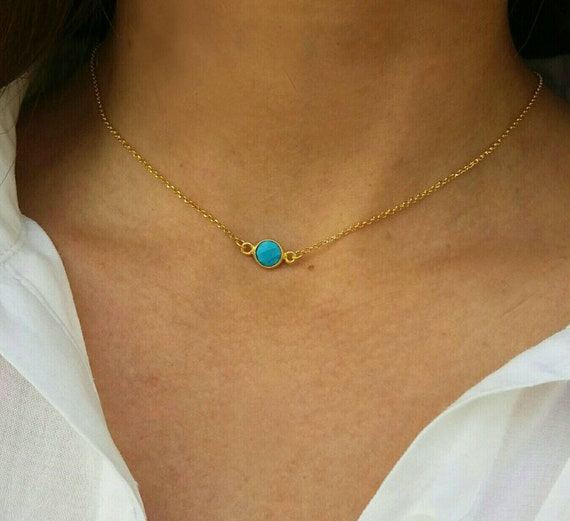 Dainty turquoise  necklace,gold filled necklace, dainty turquoise necklace, howlite, dainty necklace,Teal Necklace,bridesmaid gold neckalce