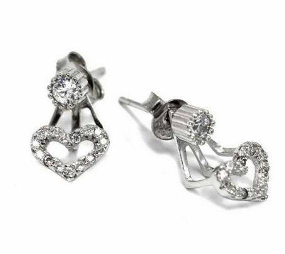 Cubic Zirconia ear cuffs, solitaire diamond earrings, dainty earrings, anniversary gift, wedding earrings, bridal earrings
