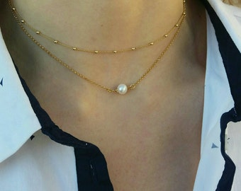 Layered Pearl & Dew Drop Chain Necklaces Set
