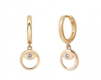 Hoop Earrings with Evil Eye, 14k Gold Filled, Cubic Zirconia, Dainty Earrings, Sterling Silver or Rose Gold Filled, Evil Eye earrings