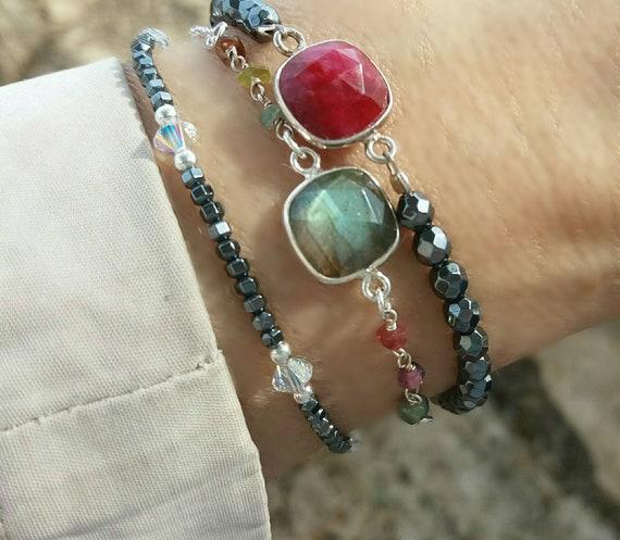 Labradorite bracelet, ruby quartz bracelet, tourmaline rosary bracelet, beaded bracelet, everyday jewelry, summer bracelet, gemstones