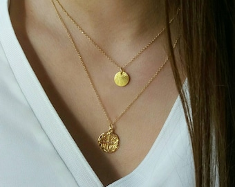Layered Gold Filled Christian&Disk Necklaces Set