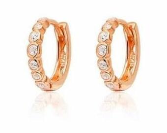 Dainty Hoop Earrings,  Cubic Zirconia Earrings, Rose Gold Filled Hoop Earrings, Small Hoop Earrings, Women Gift, Ear Hoops, Rose  Earrings