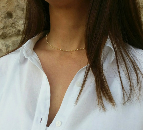 Bridesmaid Gift - Pearl Necklace - Dainty Pearl Choker - Freshwater Pear - 14k Gold Filled Necklace - Best Gifts for Women