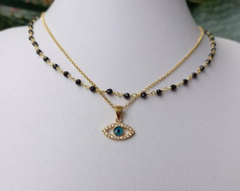 Layered Black Zircon Evil Eye&Onyx Rosary Necklace