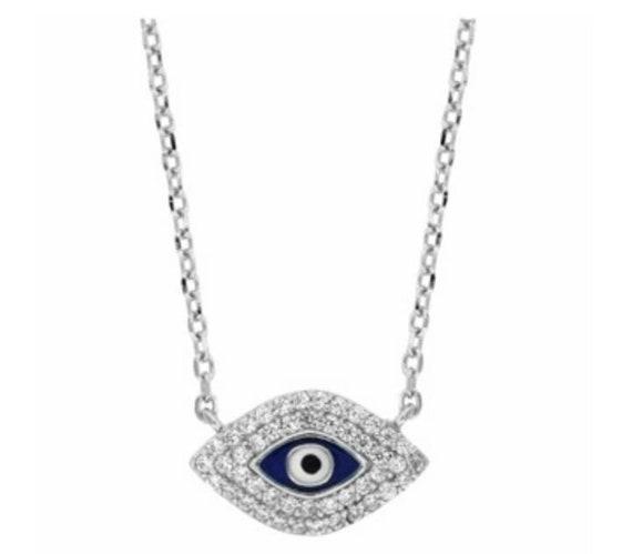 Evil eye necklace, zircon necklace, evil eye charm, dainty evil eye necklace, blue evil eye,necklace for girlfriends, 925 sterling silver