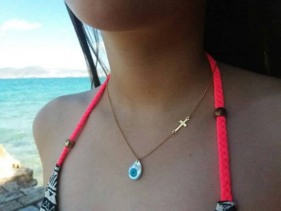 Evil eye necklace, gold necklace, sideways cross necklace,drop evil eye necklace,light blue eye,cross and evil eye necklace, ivory evil eye