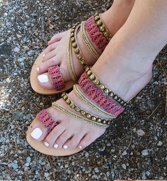 Boho  Sandals, Hippie Sandals, Chic Sandals, Slip On Sandals, Genuine Leather Sandals, Greek Sandals, Wedding Sandals, Summer Sandals
