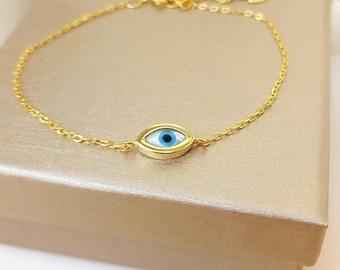 Tiny Evil Eye Bracelet, 14k Gold Filled Evil Eye Bracelet, Protection Charm, Ivory Bracelet, Evil Eye Bead Bracelet, Solid Silver Bracelet