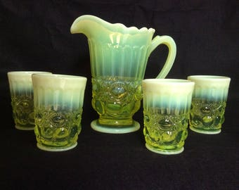 Mosser Opalescent Vaseline Glass Eyewinkler Pitcher and 4 Glasses E-56