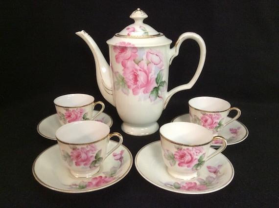 Gold China Occupied Japan 10 Piece Tea Pot with 4 Cup/Saucer Sets E841