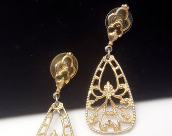 Vintage Goldtone Filigree Drop Earrings