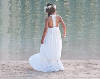 170b56885 Beach Flower Girl Dress, Open Back Flower Girl Dress, Long Dresses For Girls,  Beach Flower Girl Dresses, Flower Girl Dress Boho, Off White