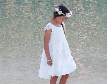 c260fcce61316 Beach Flower Girl Dress, Elegant Flower Girl Dress, Cap Sleeve Flower Girl  Dress, Beach Flower Girl Dresses, Lace Flower Girl Dresses