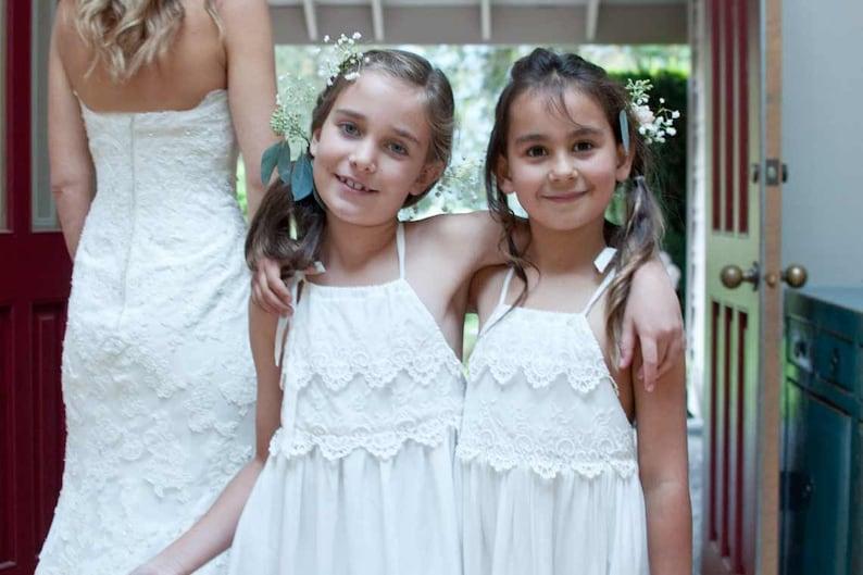 Rustic Flower Girl Dress Boho Gown Boho Lace Dress Lace Flower Girl Dress Ivory Communion Dress Girls Maxi Dress Girls Couture Dress