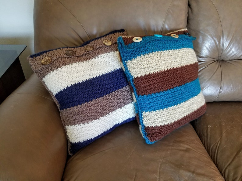 16x16 pillow crochet Father/'s Day Shrinking Stripes Pop/'s Pillow Birthday Gift