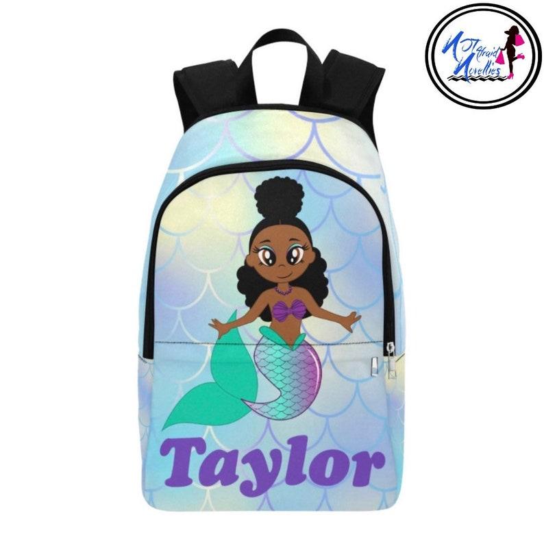 African American Mermaid Girls Lunch Bag and Backpack.  19fdf09aa7b05
