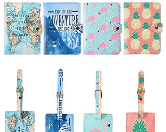 Cute Passport Holders with Luggage Tag / Card Holders / Traveler Gifts / Passport Case / Passport Cover / Honeymoon Gift / PU Leather Cover