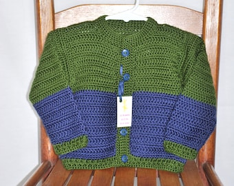 Blue and Green crochet baby sweater 12-18 months