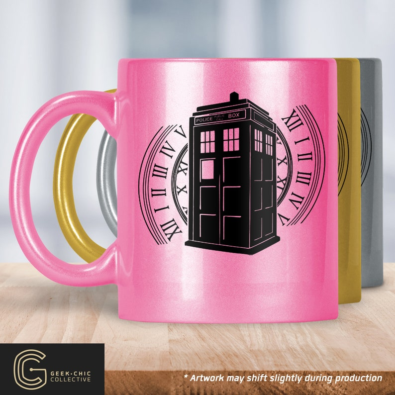 Tardis Doctor Who-inspired Colored Metallic Mug image 0