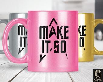Trek-inspired Make It So Colored Metallic Pearlized Mug