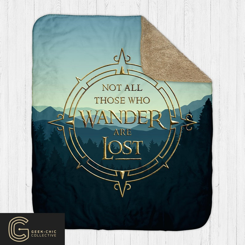 LOTR-inspired Not All Those Who Wander Are Lost Sherpa Blanket image 0