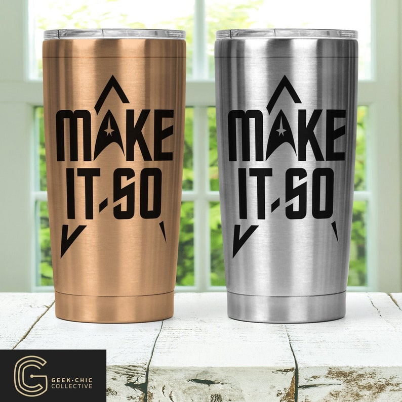 Trek-inspired Make It So Stainless Steel Thermos with Lid image 0