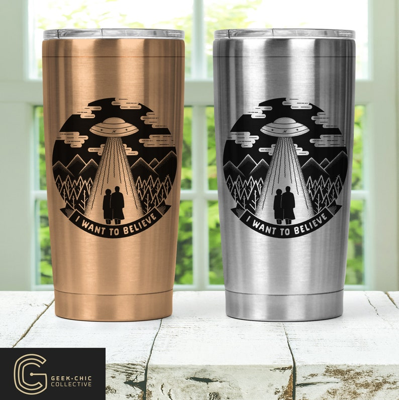 I Want To Believe X-Files inspired Stainless Steel Thermos image 0