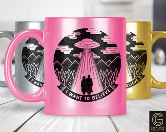 I Want To Believe X-Files inspired Colored Metallic Pearlized Mug