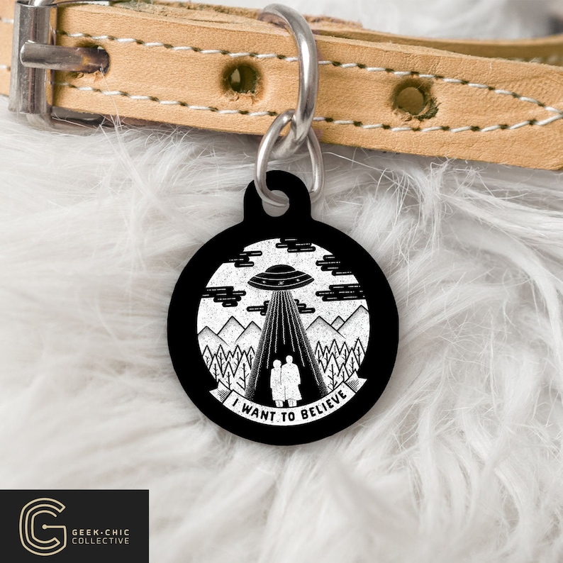 I Want To Believe X-Files inspired Pet Tag image 0