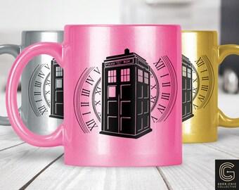 Tardis Doctor Who-inspired Colored Metallic Pearlized Mug