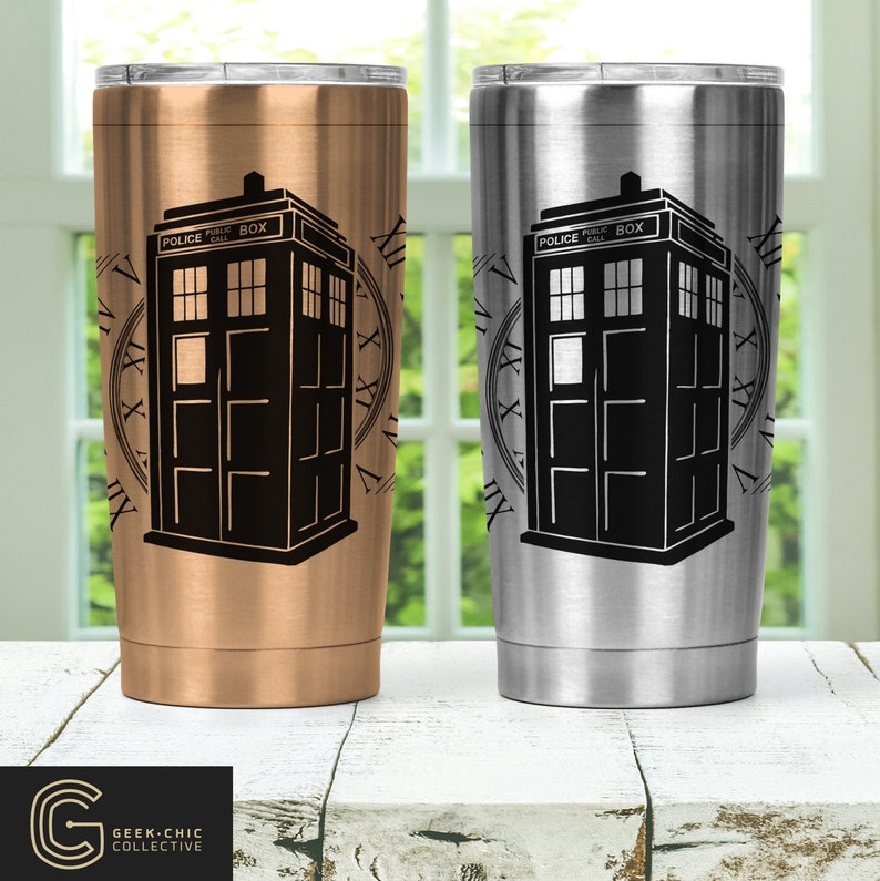 Tardis Doctor Who-inspired Stainless Steel Thermos with lid image 0