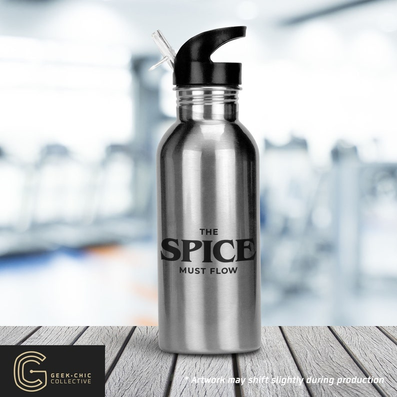 Dune-inspired Stainless Steel Water Bottle with Straw