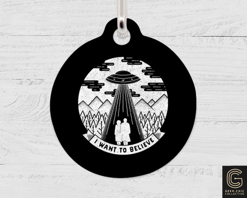 I Want To Believe X-Files inspired Pet Tag image 1