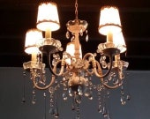 Pink Chandelier with Glass Drops and Swags of Crystal Prisms, One of a Kind French Chic Lighting