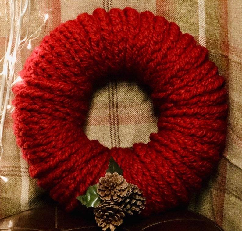 Finger Knitted Christmas Wreath Etsy