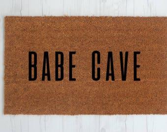 Babe Cave Doormat - Handpainted Door Mat - Funny Cute Unique Trendy Welcome Mat